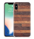 Apple iPhone Xs Hoesje Houten planken voor iPhone Xs